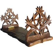 Expandable Book Rack Hand Carved Edelweiss and Glands Black Forest