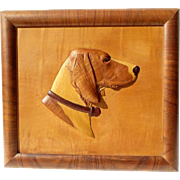 Excellent Marquetry Picture Dog Head Pointer Precious Wood