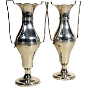 Pair of Edwardian Silver Baluster Vases Birmingham William Aitken 1902