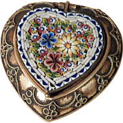 Lovely Victorian Era Micro Mosaic Box Heart Shape