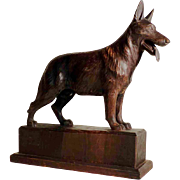 Large Hand Carved German Shepherd Male Dog  ca. 1920