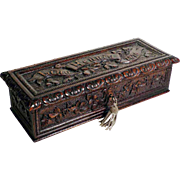 Hand Carved Jewelry Box Black Forest Dated 1876