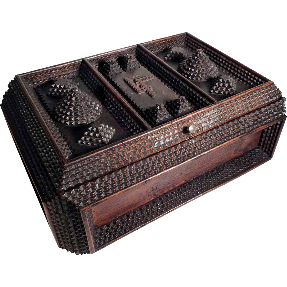 Tramp Art Jewelry or Sewing Box Casket ca. 1900 – Excellent