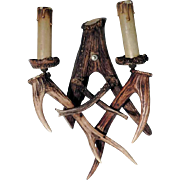 Old Wall Sconce Made of Antler Pieces