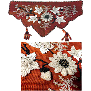 Stunning Biedermeier Era Beadwork with Raised Motifs Needlepoint Pelmet