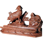 Rare Hand Carved  Desk Set Sheep and Lamb ca. 1900