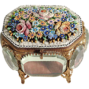 19th Century Micro Mosaic Casket Unusual Shape