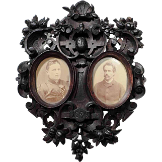 Fantastic Hand Carved Wedding Double Frame Dated 1889