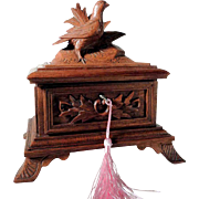 Delightful Hand Carved Jewelry Box Game Bird ca. 1900 Black Forest