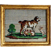 Delightful Beadwork Dog Mother and Puppies Early 19th  Century