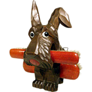 Hand Carved Brush Holder Dog ca. 1930 – Cutie Scottie