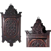Lovely Small Wall Cabinet Chip Carving ca. 1900