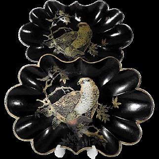 19th Century Papier Mache Two Matching Trays Majestic Falcons