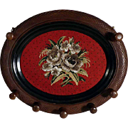 Beautiful Wall Rack Beadwork Medallion Carved Frame ca. 1880/1900