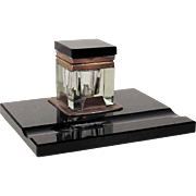 Cut Glass Inkwell with Black Opaline Stand and Lid – Pure Art Deco