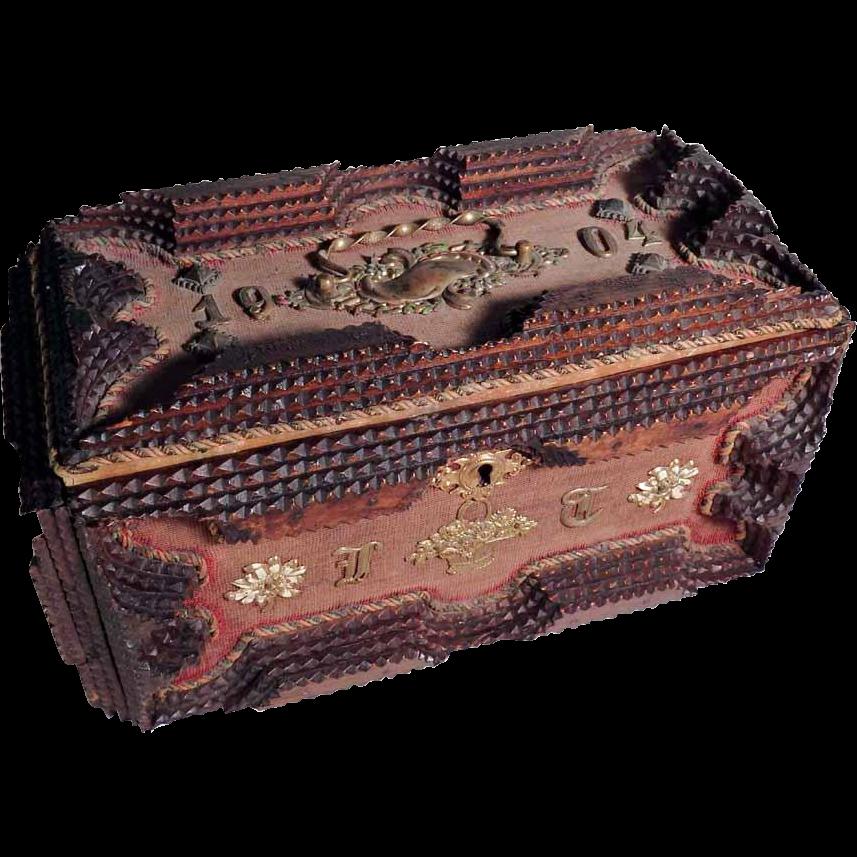 Lovely 1904 Dated Jewelry Box Handmade Tramp Art Enamel Decoration