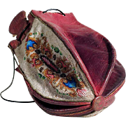 Gorgeous  Pouch Beadwork and Leather Early 19th Century