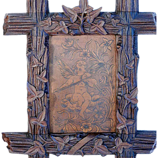 Pokerwork Putty with Harp Hand Carved Frame