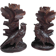 Pair of Hand Carved Matching Candle Sticks Birds Black Forest