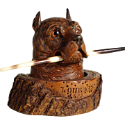 19th Century Fantastic Figural Inkwell Doberman Head Black Forest