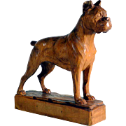 Hand Carved Standing Boxer Dog