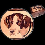 Wooden Jewelry Casket Saint Bernard Dog Marquetry