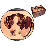 Wooden Jewelry Casket Saint Bernard Dog Marquetry