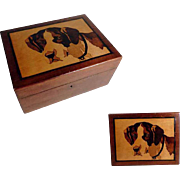 Wooden Jewelry Casket Saint Bernard Dog Picture Marquetry