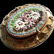Victorian Era  Micro Mosaic Box Pill Box Usual Shape