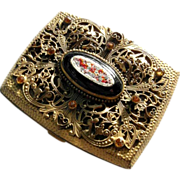 Elegant Case Micro Mosaic Medallion Foliate Design Paste Stones Open Work