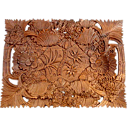 Exquisite Hand Carved Tray Black Forest Meadow Symphony