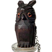 Hand Carved Bottle Stopper Owl Black Forest ca. 1920