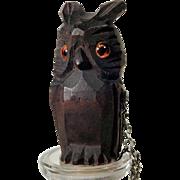 Hand Carved Bottle Stopper Owl Black Forest ca. 1920