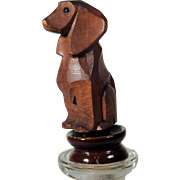 Bottle Stopper Hand Carved Dachshund Black Forest