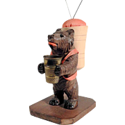 Hand Carved Bear Pin Cushion & Thimble Holder Black Forest