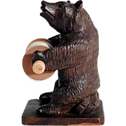 Hand Carved Barefaced Bear Bobbin Holder Black Forest