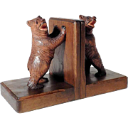 Funny Hand Carved Bookends Bears ca. 1950