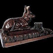 Large Desk Set Hand Carved Stag Antler Black Forest