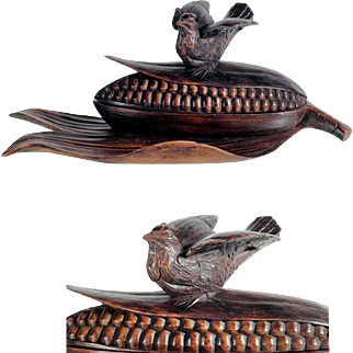 Hand Carved Ink Well Bird on Maize Cob Corncob Black Forest