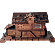 Amazing Hand Carved Box Chalet Shape