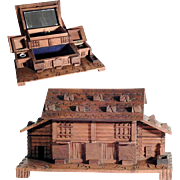 Amazing Hand Carved Sewing Box Chalet Shape w. Pin Cushion and Thimbles