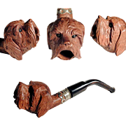 19th Century Fantastic Cigarette Holder Hand Carved Dog Head