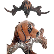 Hand Carved Wall Rack w. Chase Dog Head Black Forest