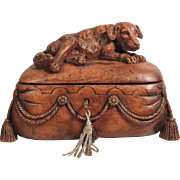 Gorgeous Jewelry Casket Recumbent Dog Hand Carved