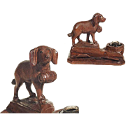 Rare Desk Set Hand Carved Saint Bernard Dog