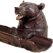 Wooden Figural Inkwell Bear Black Forest ca. 1900