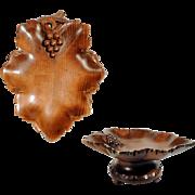 Musical Hand Carved Bowl Wine leaf Shape ca. 1920  Black Forest