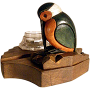 Hand Carved Ink Well w. Stamp Box Woodpecker ca. 1920
