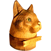 Hand Carved Ink Well Cat Head Glass Eyes Black Forest