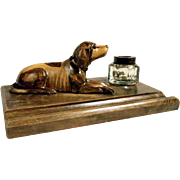 Ink Well Stand Dog English Pointer Hand Carved Black Forest